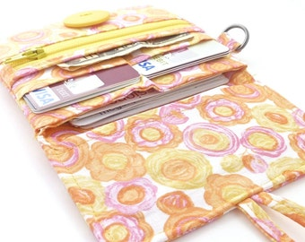 cute floral wallet. yellow pink spring womans coin purse card organizer. zip fabric ladies pocketbook for her. teen tween gift