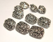 Puffed Bali Style Intricate Filigree 13 x 11mm Silver Pewter Focal Beads- Qty 10