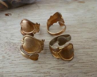 4 Vintage Brass Spoon Rings C28
