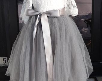 Girls Gray tutu,  Girls Dove Grey Long Tulle Skirt , Gray Tutu, Tulle skirt , Girls Tutu, Flower girl dress