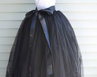 Womens Tutu, Black Tulle skirt, tulle skirt, black skirt, ballet skirt, ballet tutu, Floor Full Length Puffy
