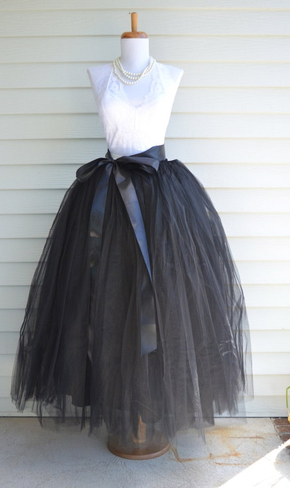 Unique Grey Tulle Tutu Skirt For Womenlined In Black Satin With