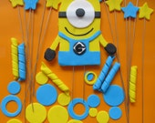 Minion Inspired  Fondant Cake Toppers Complete Set Cake Decorations