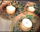 Group of Three Real Maine Shell Glass Mirror Mosaic Tealight Candle Votive Wedding