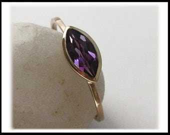 Amethyst Marquise 14k Gold Ring