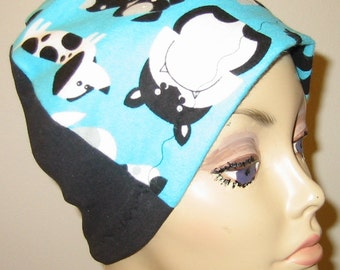 Kids  Chemo Flannel Sleep Cap, Cancer Hat, Hair Loss, Black and White Dogs