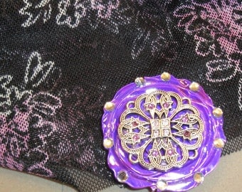 Magnetic Back Brooch upcylced from small metal vintage medallion, Added purple floral shell and magnetic back, Bonus sheer oblong scarf