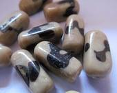 Vintage Glass Beads (10) Tan & Coffee Handmade Beads
