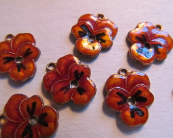 Vintage Enamel & Brass Pansy Flower Charms Findings High Quality Baked Enamel