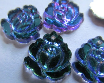 Vintage Glass Beads (2) Beautiful Rose Pendant Mirror Dangles Beads