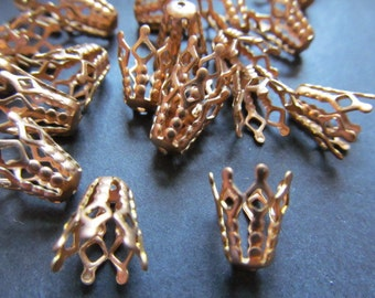 Vintage Brass Bead Caps (30) Adjustable Pliable Bead Caps