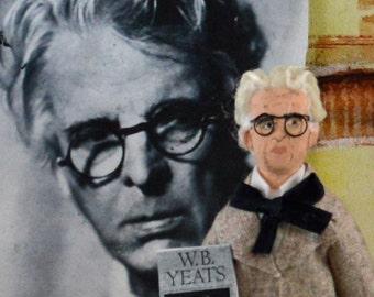 William Butler Yeats Doll Miniature Author Writer Art by Uneek Doll Designs