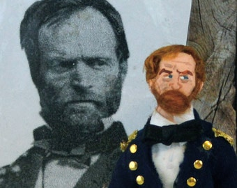 Civil War William T. Sherman Miniature Art Doll Historical General