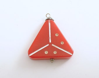 Vintage Bakelite Pendant Domino Red Triomino Triangle