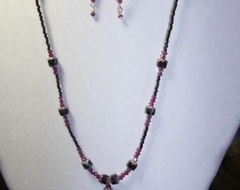 Handmade Necklace and Earring Set w/Swarovski Beads in Black/Fuschia/Light Rose