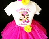 Baby Minnie Mouse Pink Orange Yellow Hot Pink 1st First Girl Birthday Tutu Outfit Custom Personalized Name Age Party Shirt Set