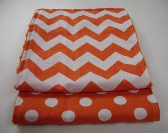 Orange Chevron and Dots Baby Burp Cloth Set