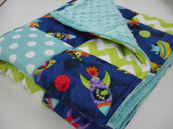 Aliens in space ships lime and aqua patchwork minky blanket for Space minky fabric