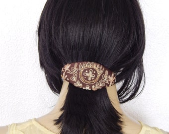 Brown embroidered sequinned beaded hair barrette great for thick hair unique style for the bohemian fashionista