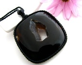 Perfect Mothers Day / Onyx Druzy Necklace / Onyx Necklace / Onyx jewelry / Black / Macrame / Druzy necklace / Gift / stone / Statement