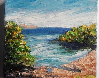 """Mini Impasto Oil Painting of Landscape with Sea Ocean 4"""" x 4"""" Heavy Duty Gallery Wrap Canvas READY to SHIP"""