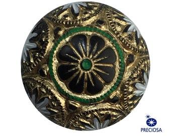 Preciosa Black Mosaic Glass Cabochons with Gold White Green 18mm (2) cab756F