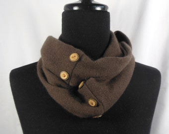Infinity Cashmere Wool Scarf made from an upcycled brown sweater