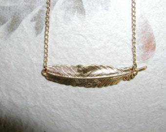 Brass feather necklace, 14kt gold plated chain, feather necklace, bridesmaid
