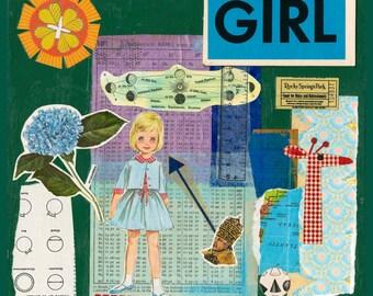 Girl Collage Art Print // Surreal Home Decor