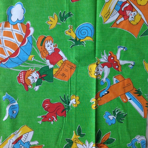 Seventies vintage childrens fabric 90x40 cm from for Vintage childrens fabric