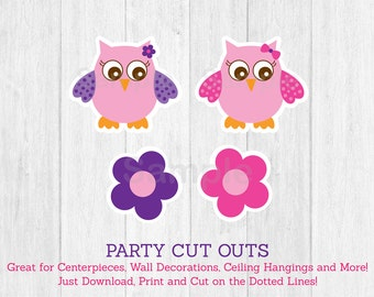 Cute Owl Cut Outs / Pink Owl Cut Outs / Owl Baby Shower / Owl Decorations / Girl Owl / Baby Girl Shower / Printable INSTANT DOWNLOAD