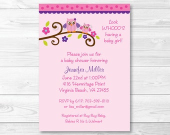 Cute Pink Owl Baby Shower Invitation / Owl Baby Shower Invite / Owl Baby Shower / Pink & Purple / Baby Girl Shower / PRINTABLE