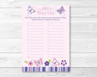 Butterfly ABCs Butterfly Baby Shower / Pink & Purple Butterfly / ABCs Shower Game / INSTANT DOWNLOAD A248
