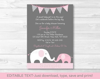 Pink Elephant Baby Shower Invitation / Elephant Baby Shower / Chevron Pattern / Pink & Grey / Baby Girl / INSTANT DOWNLOAD Editable PDF
