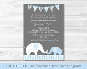 Cute Elephant Baby Shower Invitation / Elephant Baby Shower Invite / Chevron Pattern / Blue & Grey / Baby Boy INSTANT DOWNLOAD Editable PDF