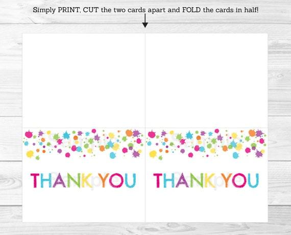 art birthday party rainbow art party thank you card printable ebay