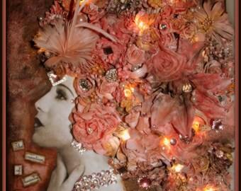 Pink Mixed Media Finnabair Inspired Canvas Beauty is Art ~ Lights up!