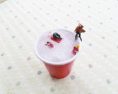 The Ultimate Party Cup Ho Scale Hand Painted Figures in Two Ounce Red Plastic Cup Miniature Art Scene