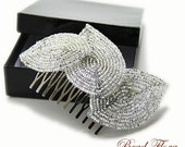 Silver French beaded leaf hair comb - bridal winter hair acessory for the bride or bridesmaid