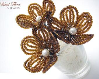 hair pins,decadent chocolate caramel brown flower blossom - for brides, bridesmaids, flower girls