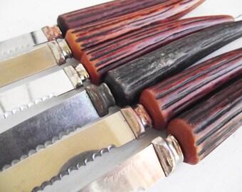 Vintage Knives - Horn Bakelite Faux Antler Set of 6 - Forgecraft USA