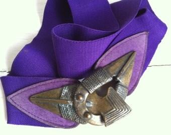 Vintage Belt - Elastic Purple Tribal Leather and Metal 1980s - L XL