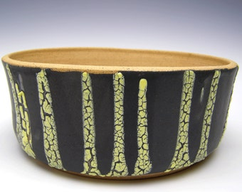 Cactus planter 8 1/4 x 3 1/4 bonsai planter succulent planter pot modern stoneware planter ceramic pottery pot planter black and yellow V-1