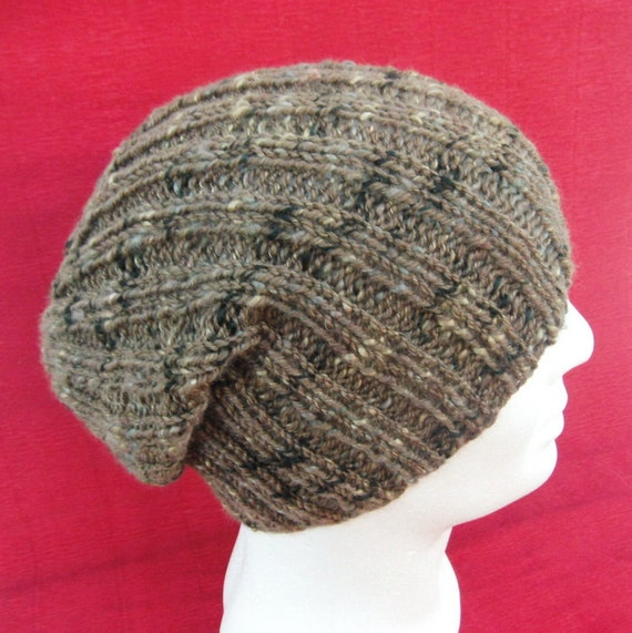 Mens Slouchy Beanie Knitting Pattern : KNITTING PATTERN/ SEATTLE Slouchy Ribbed Hat for by RomeoRomeo