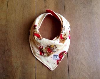 Bandana Bib- Flannel- Baby Bib- Rocking Horse Bib with Red Backside- Handmade Gifts- Baby- Cotton- Snap Bib- Teething- Giraffe- Yellow