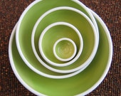 Ceramic Nesting Bowls in Lime Green - Wedding Gift - Large Set of Stoneware Pottery Bowls