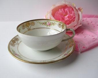 Teacup & Saucer Nippon Pink Green Rose - Vintage Chic
