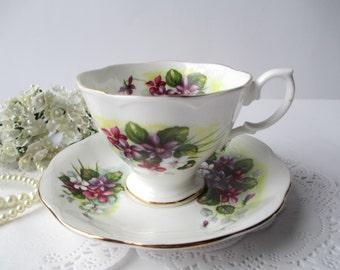 Vintage Royal Albert English Bone China Purple Floral Teacup & Saucer