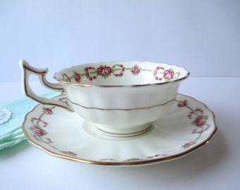 Vintage Teacup and Saucer Cauldon Stoke On Trent England Pink Rose