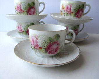 Vintage German Teacups & Saucers Pink Rose Set of Five